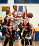 WATERBURY,  CT-021819JS19-  Holy Cross' Cayla Howard (23) has the ball knocked away by Watertown's Cayla D'Elia (1) while driving to the basket during their NVL semi-final game Monday at Kennedy High School in Waterbury. <br /> Jim Shannon Republican American