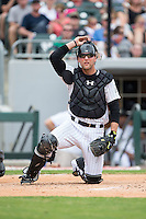 Charlotte Knights catcher Kevan Smith (32) on defense against the Gwinnett Braves at BB&T BallPark on July 3, 2015 in Charlotte, North Carolina.  The Braves defeated the Knights 11-4 in game one of a day-night double header.  (Brian Westerholt/Four Seam Images)