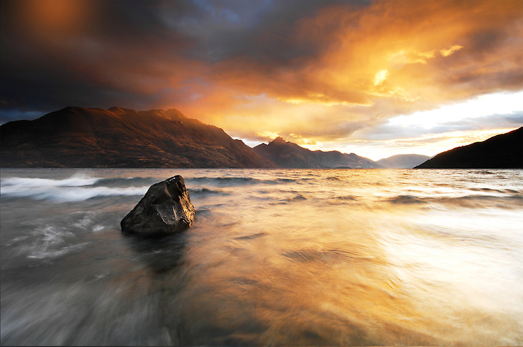 Lake Wakatipu sunrise looking toward Walter and Cecil Peaks, Queenstown, South Island, New Zealand - stock photo, canvas, fine art print