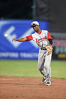 Lowell Spinners second baseman Raymel Flores (11) throws to first during a game against the Batavia Muckdogs on July 18, 2014 at Dwyer Stadium in Batavia, New York.  Lowell defeated Batavia 11-2.  (Mike Janes/Four Seam Images)