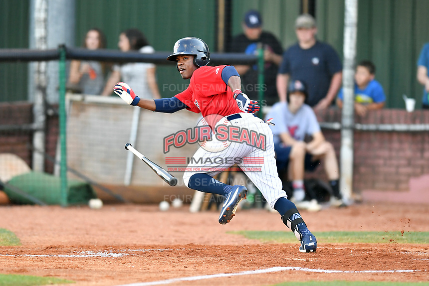 Elizabethton Twins right fielder T.J. Dixon (41) swings at a pitch during a game against the Pulaski Yankees at Joe O'Brien Field on June 27, 2016 in Elizabethton, Tennessee. The Yankees defeated the Twins 6-4. (Tony Farlow/Four Seam Images)