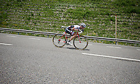 Peter Stetina (USA/Trek-Segafredo) descending at high speed from the highest point in the 2016 Tour; the Port d'Envalira (Cat1/2408m/22.6km at 5.5%)<br /> <br /> stage 10: Escaldes-Engordany (AND) - Revel (FR)<br /> 103rd Tour de France 2016