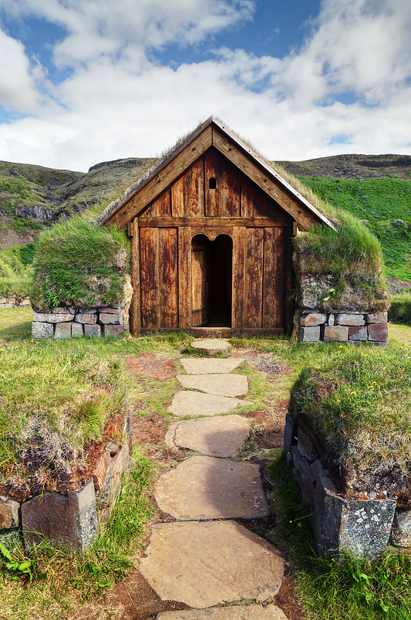 Small turf stave-church, Stöng, Iceland