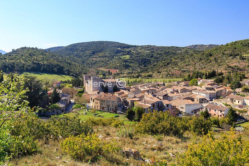 France, Aude (11), Villerouge-Termenès, le village et le château // France, Aude, Villerouge-Termenes, the village and castle