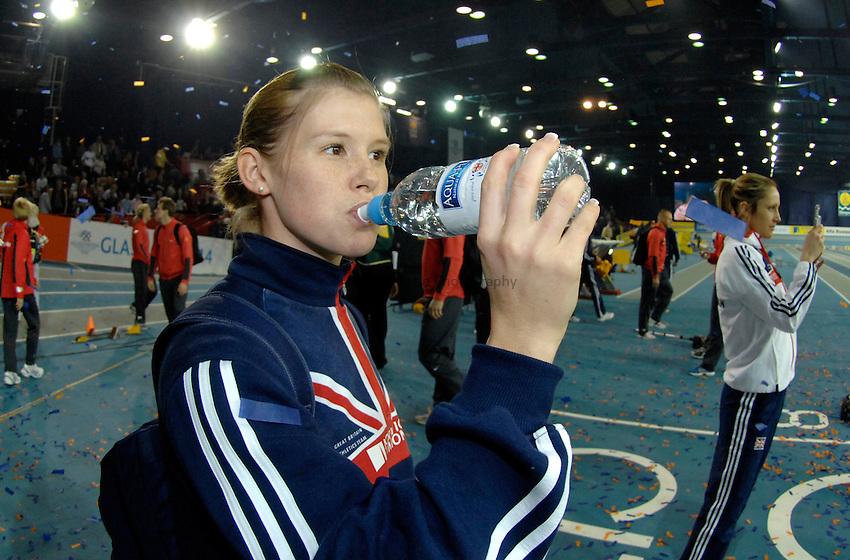 Photo: Richard Lane..Norwich Union International, Glasgow. 27/01/2007. .Great Britain's Sara McGreavy drinks Aqua-Pura water.