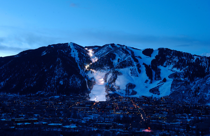 Aspen Mountain with lights for 24-Hours of Aspen ski race. © Michael Brands. 970-379-1885.