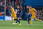 Atletico de Madrid's Antoine Griezmann and FC Barcelona Gerard Pique and Sergio Busquets during Champions League 2015/2016 Quarter-Finals 2nd leg match. April 13, 2016. (ALTERPHOTOS/BorjaB.Hojas)