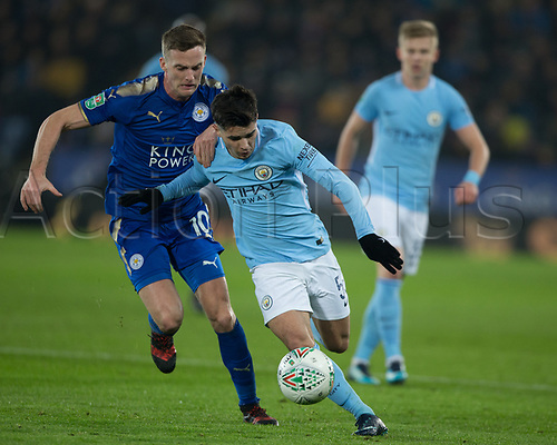 19th December 2017, King Power Stadium, Leicester, England; Carabao Cup quarter-final, Leicester City versus Manchester City; Brahim Diaz of Manchester City is fouled by Andy King of Leicester City