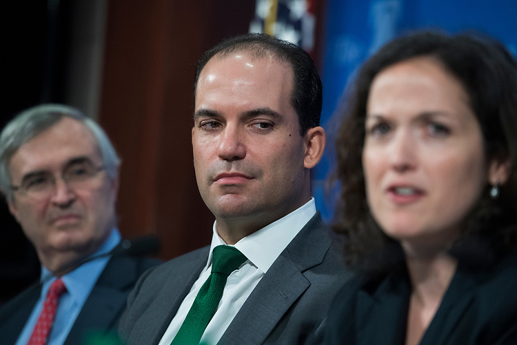UNITED STATES - AUGUST 09: Roman Martinez, center, and Sarah Pitlyk, former law clerks for Supreme Court nominee Brett Kavanaugh, attend an event at the Heritage Foundation on August 9, 2018. John Malcolm, left, vice president for Institute for Constitutional Government, also appears. (Photo By Tom Williams/CQ Roll Call)