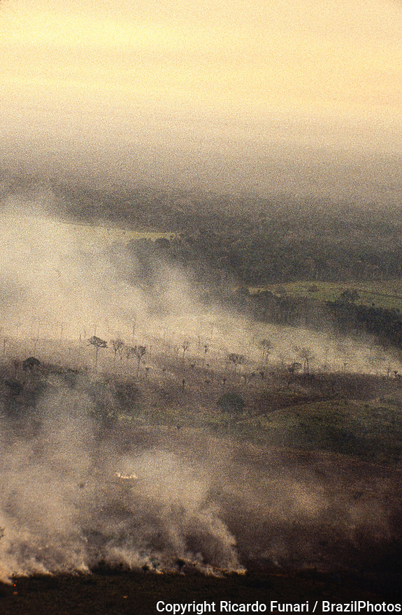 Aerial view of Amazon rainforest burning, farm management with deforestation, Acre State, Brazil.