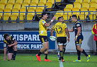 Hurricanes' Ngani Laumape celebrates his second try during the Super Rugby match between the Hurricanes and Highlanders at Westpac Stadium in Wellington, New Zealand on Friday, 1 March 2019. Photo: Dave Lintott / lintottphoto.co.nz