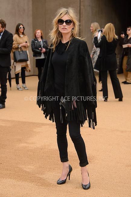 WWW.ACEPIXS.COM<br /> <br /> February 23 2015, London<br /> <br /> Kate Moss arriving at the Burberry Prorsum Womenswear AW15 at the Brixton Academy on February 23 2015 in London. <br /> <br /> By Line: Famous/ACE Pictures<br /> <br /> <br /> ACE Pictures, Inc.<br /> tel: 646 769 0430<br /> Email: info@acepixs.com<br /> www.acepixs.com