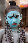 A young boy dresed as Krishna, Pushkar, India