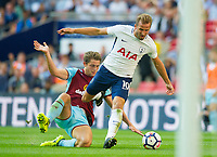 Tottenham's Harry Kane and  Burnley James Tarkowski during the Premier League match between Tottenham Hotspur and Burnley at White Hart Lane, London, England on 27 August 2017. Photo by Andrew Aleksiejczuk / PRiME Media Images.