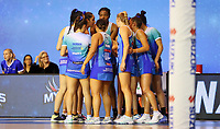 The Mystics huddle during the ANZ Championship netball match between Northern Mystics and Central Pulse at the Auckland Netball Centre in Auckland, New Zealand on Saturday 18 July 2020. Photo: Simon Watts / bwmedia.co.nz