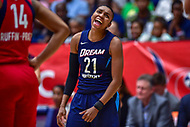 Washington, DC - August 31, 2018: Atlanta Dream guard Renee Montgomery (21) is fired up after a three point play during semi finals playoff game between Atlanta Dream and Wasington Mystics at the Charles Smith Center at George Washington University in Washington, DC. (Photo by Phil Peters/Media Images International)