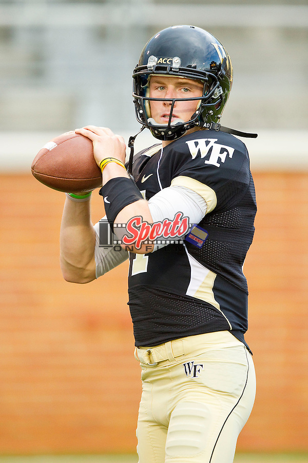 Pat Long (17) of the Wake Forest Demon Deacons prior to the game against the Liberty Flames at BB&T Field on September 1, 2012 in Winston-Salem, North Carolina.  The Demon Deacons defeated the Flames 20-17.  (Brian Westerholt/Sports On Film)