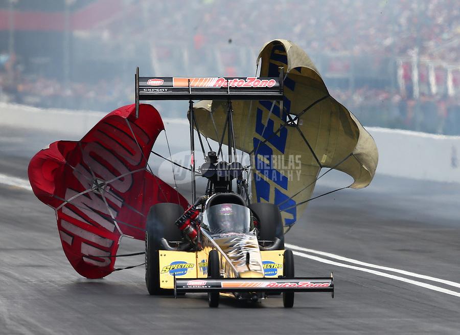 Jun 20, 2015; Bristol, TN, USA; NHRA top fuel driver Leah Pritchett during qualifying for the Thunder Valley Nationals at Bristol Dragway. Mandatory Credit: Mark J. Rebilas-