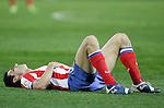 Atletico de Madrid's Pablo Ibanez injured during La Liga match, February 15, 2009. (ALTERPHOTOS/Alvaro Hernandez).