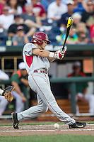 Arkansas Razorbacks outfielder Andrew Benintendi (16) swings the bat during the NCAA College baseball World Series against the Miami Hurricanes on June 15, 2015 at TD Ameritrade Park in Omaha, Nebraska. Miami beat Arkansas 4-3. (Andrew Woolley/Four Seam Images)