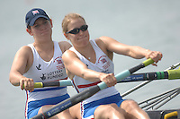 Beijing, CHINA, GBR JW2X, Bow, Vicky KNIGHT and Emily PIGGOTT, during the  2007. FISA Junior World Rowing Championships Shunyi Water Sports Complex. Wed. 08.08.2007  [Photo, Peter Spurrier/Intersport-images]..... , Rowing Course, Shun Yi Water Complex, Beijing, CHINA,