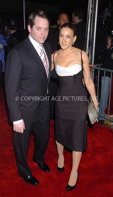 "WWW.ACEPIXS.COM . . . . .  ....December 4 2005, New York City....Matthew Broderick and Sarah Jessica Parker on the red carpet at the premiere of 'The Producers"" at the Ziegfeld Theatre........Please byline: AJ Sokalner - ACEPIXS.COM.... *** ***..Ace Pictures, Inc:  ..Philip Vaughan (212) 243-8787 or (646) 769 0430..e-mail: info@acepixs.com..web: http://www.acepixs.com"