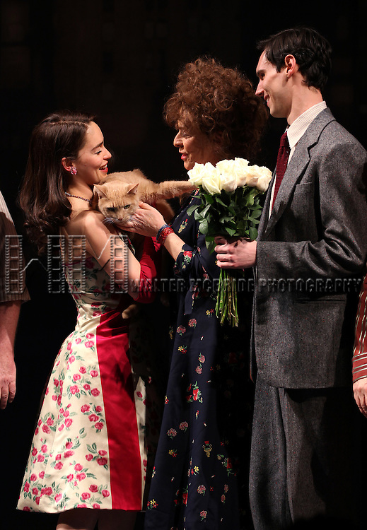 Emilia Clarke, Suzanne Bertish & Cory Michael Smith with Vito Vincent  during the Opening Night Performance Curtain Call for  'Breakfast At Tiffany's' at the Cort Theatre in New York City on 3/20/2013