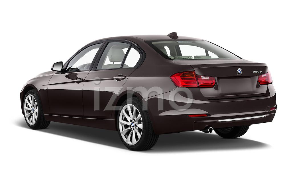 Rear three quarter view of a 2012 - 2014 BMW 3-Series 320d Modern 4 Door Sedan.