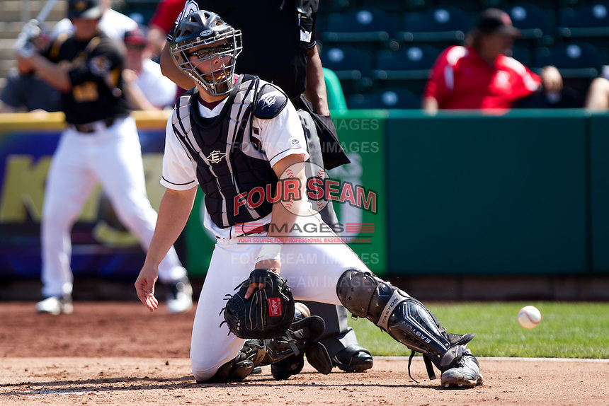 Luke Voit (30) of the Missouri State Bears watches as a ball goes by during a game against the Wichita State Shockers on April 9, 2011 at Hammons Field in Springfield, Missouri.  Photo By David Welker/Four Seam Images