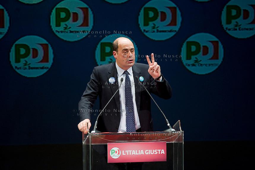 Roma, 22 Febbraio, 2013. Nicola Zingaretti, candidato per il PD alla Regione Lazio, alla chiusura della campagna elettorale al Teatro Jovinelli.