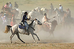 There is lots of dust and action during during the 13th annual Custer Battle of the Little Bighorn reenactment in Hardin Montana. Model release.