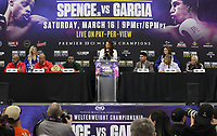 DALLAS, TX- MARCH 13: The press conference for the Premier Boxing Champions on FOX Sports Pay-Per-View for the IBF Welterweight World Champion Errol Spence Jr. defending his title against four-division world champion Mikey Garcia at AT&T Stadium on March 13, 2019 in Dallas, Texas. (Photo by Scott Kirkland/Fox/PictureGroup)