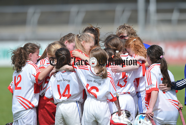 The Inch team regroup following their loss to Ballyea at the Clare Primary schools Hurling and Camogie finals in Cusack Park. Photograph by John Kelly.