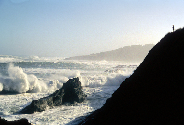 Watching the ocean on a stormy day, Mendocino California