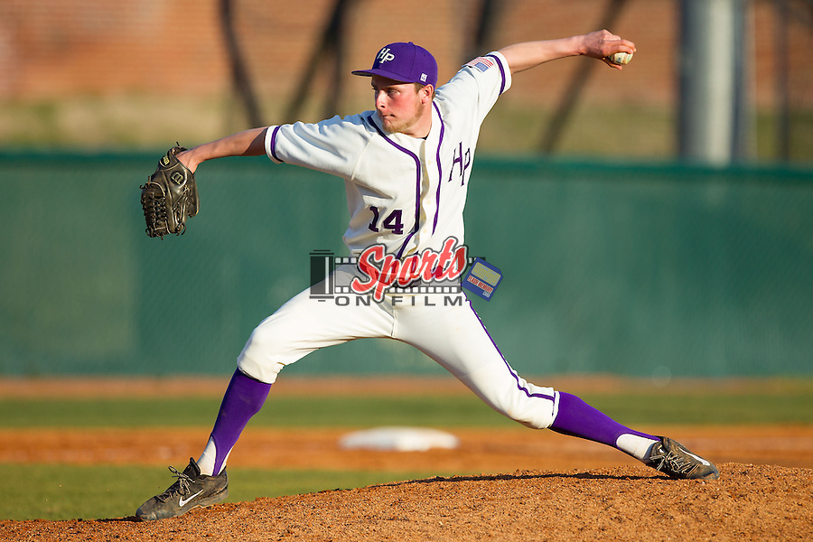 High Point Panthers relief pitcher Jeremy Johnson (14) delivers a pitch to the plate against the Bowling Green Falcons at Willard Stadium on March 9, 2014 in High Point, North Carolina.  The Falcons defeated the Panthers 7-4.  (Brian Westerholt/Sports On Film)