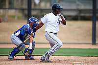 Chicago White Sox minor league infielder Keon Barnum #38 during an instructional league game against the Los Angeles Dodgers at the Camelback Ranch Training Complex on October 6, 2012 in Glendale, Arizona.  (Mike Janes/Four Seam Images)