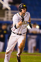 Michigan Wolverines first baseman Brett Winger #39 runs to first during a game against the Pittsburgh Panthers at the Big Ten/Big East Challenge at Florida Auto Exchange Stadium on February 18, 2012 in Dunedin, Florida.  (Mike Janes/Four Seam Images)