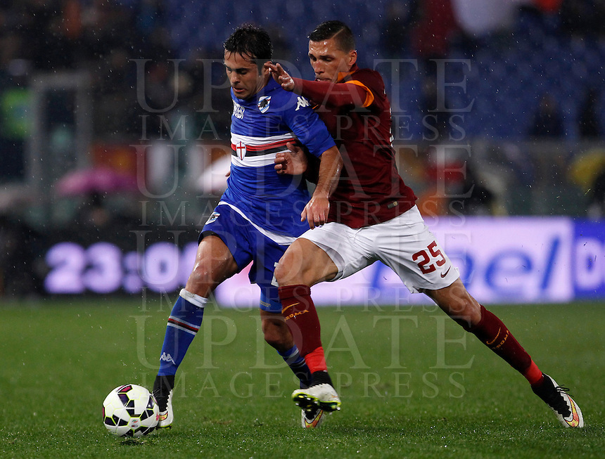 Calcio, Serie A: Roma vs Sampdoria. Roma, stadio Olimpico, 16 marzo 2015. <br /> Sampdoria&rsquo;s Eder, left, is challenged by Roma&rsquo;s Jose&rsquo; Holebas during the Italian Serie A football match between Roma and Sampdoria at Rome's Olympic stadium, 16 March 2015.<br /> UPDATE IMAGES PRESS/Isabella Bonotto