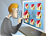 Illustration of man searching home online