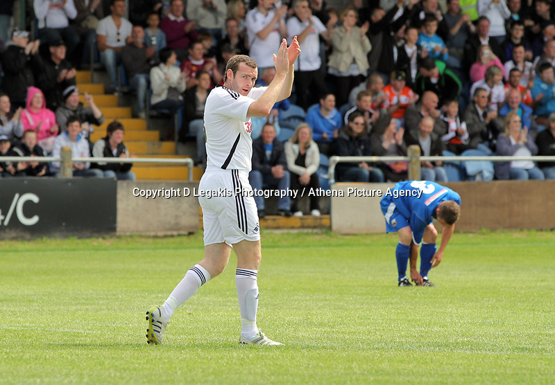 Pictured:  Craig Beattie of Swansea celebrating his goal. Saturday 17 July 2011<br /> Re: Pre season friendly, Port Talbot Football Club v Swansea City FC at the GenQuip ground, Port Talbot, south Wales.