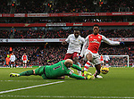 Arsenal's Chuba Akpom gets brought down by Aston Villa's Brad Guzan for a penalty<br /> <br /> Barclays Premier League - Arsenal vs Aston Villa - Emirates Stadium  - England - 1st February 2015 - Picture David Klein/Sportimage