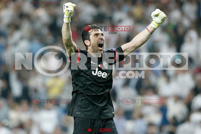 Juventus' Gianluigi Buffon celebrates the victory in the Champions League 2014/2015 Semi-finals.May 13,2015. (ALTERPHOTOS/Acero) /NortePhoto.COM