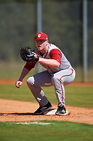Indiana Hoosiers first baseman Scotty Bradley (30) during practice before a game against the Illinois State Redbirds on March 4, 2016 at North Charlotte Regional Park in Port Charlotte, Florida.  Indiana defeated Illinois State 14-1.  (Mike Janes/Four Seam Images)