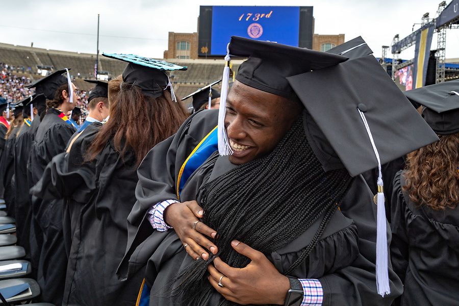 May 20, 2018; Arts and Letters graduates celebrate at the 2018 Commencement ceremony. (Photo by Matt Cashore/University of Notre Dame)