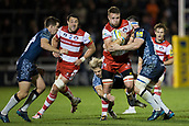 29th September 2017, AJ Bell Stadium, Salford, England; Aviva Premiership Rugby, Sale Sharks versus Gloucester; Gloucester Rugby's Ruan Ackermann is tackled by Sale Sharks' Ben Curry