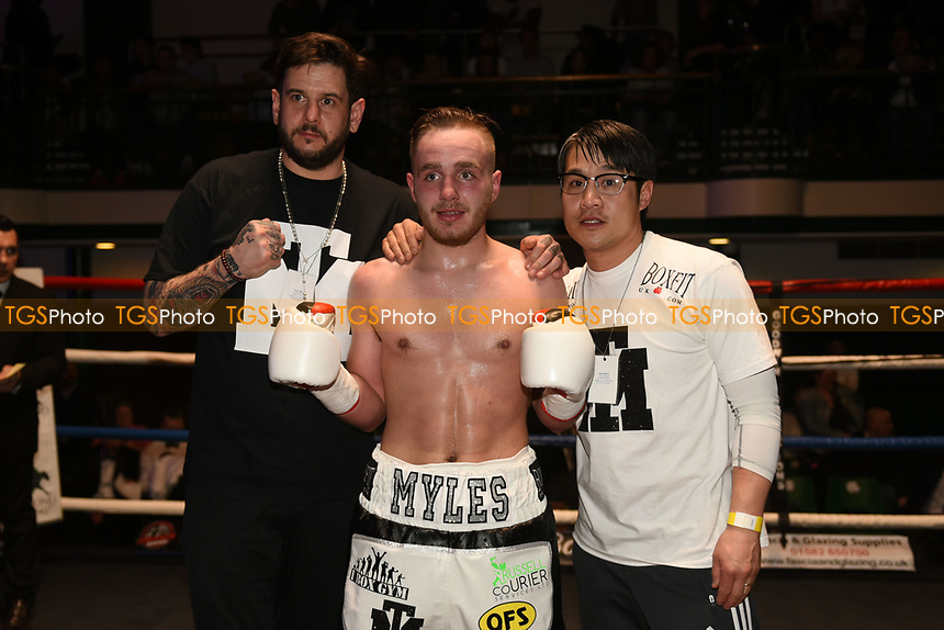 Callum Myles (white shorts) defeats Alekseis Tronenkovs during a Boxing Show at York Hall on 11th March 2017