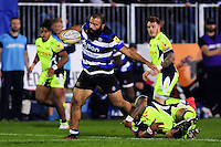 Kane Palma-Newport of Bath Rugby takes on the Sale Sharks defence. Aviva Premiership match, between Bath Rugby and Sale Sharks on October 7, 2016 at the Recreation Ground in Bath, England. Photo by: Patrick Khachfe / Onside Images
