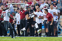 STANFORD, CA - OCTOBER 10, 2014:  Christian McCaffrey during Stanford's game against Washington State. The Cardinal defeated the Cougars 34-17.
