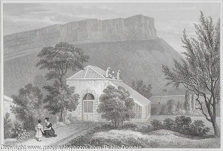 Engraving of Scottish landscapes and buildings from late eighteenth and early nineteenth century, Regent Murray's garden summer house, Scotland