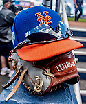 7 March 2019: A New York Mets Cap and glove rest in the dugout during a Spring Training Game against the Washington Nationals at the Ballpark of the Palm Beaches in West Palm Beach, Florida. The Nationals defeated the visiting Mets 6-4 in Grapefruit League, pre-season play. Mandatory Credit: Ed Wolfstein Photo *** RAW (NEF) Image File Available ***